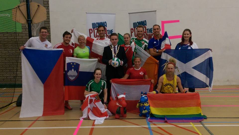 Team members representing each country with the debuty Lord Mayor of Belfast. Let the games begin!