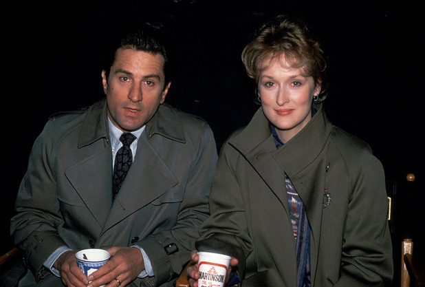 """Мерил Стрийп и Де Ниро по време на снимките на филма """"Да се влюбиш"""" през 1984 година в Ню Йорк."""