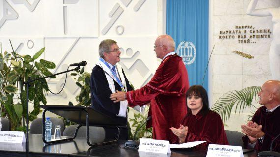 Томас Бах – Президентът на Международния олимпийски комитет стана Доктор хонорис кауза на НСА